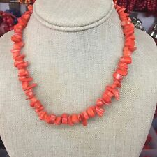 Orange Coral Sea Shell Gravel Freeform Gemstone Chip Beads Necklace 18inch