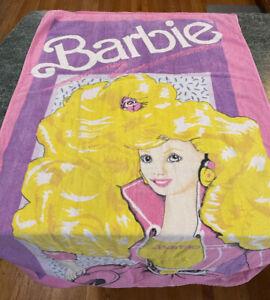 Vintage 1990 R.A. Briggs Mattel BARBIE Pink Full Size Beach Towel **Very Rare**