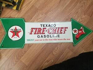 """TIN SIGN /""""Fire Chief Hat/""""   Gas-Oil   Signs  Rustic Wall Decor"""