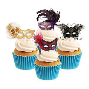 Novelty NEW!! Masquerade Mask Mix 12 Edible Stand Up wafer paper cake toppers