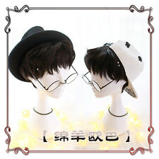 Japanese Harajuku Vintage Gothic Lolita Men Cosplay Daily Black Short Curly Wig