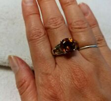 Sterling Silver Round Citrine Stone. Size 6