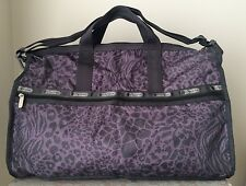 NWT LeSportsac LARGE WEEKENDER BAG tote duffel Purse Animal Tango Grey Purple