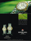 PUBLICITE ADVERTISING 045 1992 RAYMOND WEIL collection montre PARSIFAL