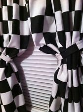 "Curtain panels 42""W X 44""L Black White Checkered Flag fabric Nascar"