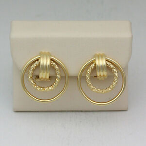 14K Yellow Gold Double Ring Hoop Polished & Textured Clip On Earrings