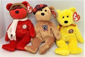 TY Beanie Babies Lot of 3 Bears 2003 Bearon 2004 ChariTee 2000 Tradee