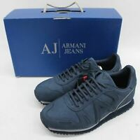 ARMANI JEANS Men's Blue Peacoat Suede Leather Low Cut Trainers UK6 EU39 BNIB