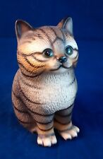Vintage House of Global Art Hand Painted Manx tabby ceramic Kitty Figurine
