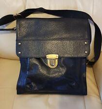 M&S  Collection Large Black Leather Messenger / Shoulder Bag  New unused.