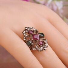 Turkish Flower Ring Vintage Antique Gold Mosaic Lotus Size 9/R 1/2 Indian Ethnic