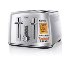 Breville VTT571 High Shine Steel 4 Slice Toaster Perfect Fit For Warbutons Bread