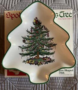 VINTAGE SPODE CHRISTMAS TREE SHAPE TRAY SMALL SERVING PLATE PLATTER W BOX