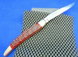 "ROBT KLASS ""Powderhorn"" Texas Toothpick Pocket Knife c.1984 Red Jigged Bone #152"