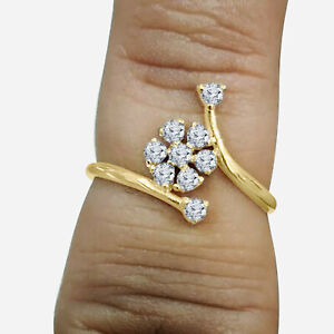 0.25 Ct Round Cut VVS1 Diamond Cluster Engagement Ring Yellow Sterling Silver