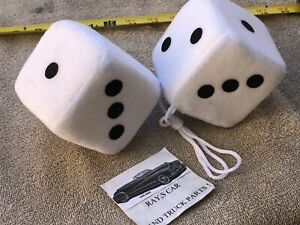 NEW PAIR OF WHITE FUZZY DICE ! ! CAR / TRUCK / BIKE !