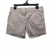 J.CREW Womens Chino Shorts Beige Pockets Light Wash Mid Rise Flat Front 4