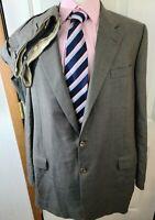 HICKEY FREEMAN BESPOKE GRAY Nailhead Wool Blend Jacket Pants SUIT Mens - 48 L