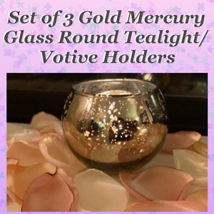 💕 3 Round Gold Tealight Votive Candle Holders Mercury Glass Discount 2 or More!