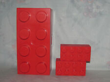 Lego Red Plastic Brick Storage 8 Knob Set - 2X4, 1X2 Containers - 2 Knob