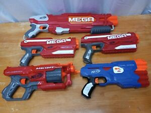 Nerf MEGA Gun Blaster Lot Of 5 Doublebreach Cycloneshock Magnus Dual-Strike