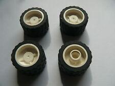 Lego 4 roues blanches set 4406 4860 4100 8441 / 4 white wheels
