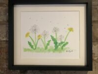 Dandelion Original watercolour signed painting. Country life, nature, cottage