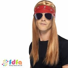 AXL ROSE ROCKER WIG + BANDANA/SUNGLASSES GUNS N ROSES mens fancy dress costume