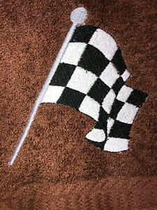 Embroidered Brown  Bathroom Hand Towel   Auto Racing Checkered Flag  HS1755