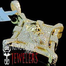 "Diamond Lion Head Statue Medallion Pendant 1.75"" Charm 10K Yellow Gold Finish"