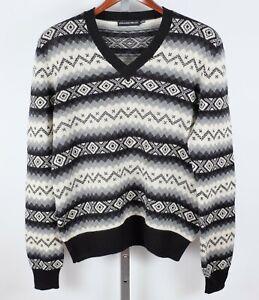 sz L Alexander McQueen cashmere sweater fair isle black gray