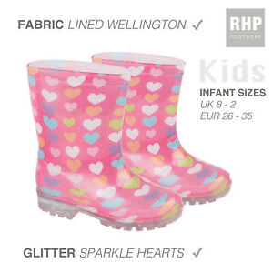 Kids Girls Wellies Childrens Wellington Rain Snow Boots Comfy Pink Infant Sizes
