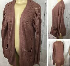 Charlotte Russe Cardigan Open Knitted Sweater Mauve Duster Women S Cotton Blend