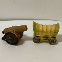 Vintage Yellow Covered Wagon and Brown Canon Salt & Pepper Shakers Made in Japan