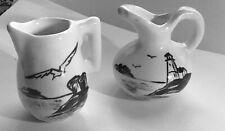 2 Val Pottery Stoneware Black & White Mini Jugs Pitcher Seashore Seascape Marine