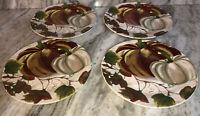 "Royal Norfolk Dinner Plate Set of 4 Stoneware 10.5""Fall Pumpkin Thanksgiving NEW"
