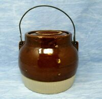 Vintage Stoneware Pottery Crock with Handle and Lid 6 inch