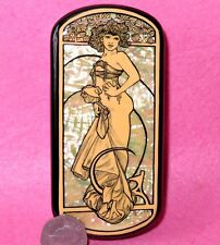 Russian LACQUER Shell BOX hand painted  REPRO Mucha Two Standing Women FRAGMENT