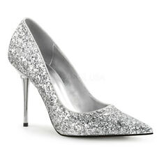 Silver Glitter Pointy Toe Heels Mens Drag Tranny Shoes Womans size 13 14 15 16