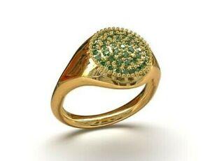 18K Gold Men Pinky Ring 18K Solid Gold Emerald Ring 18K Yellow Gold Signet Ring