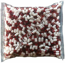 500 EMPTY gel GELATIN CAPSULES ~SIZE 0 ~ Colored White/Red (Kosher)