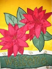 Christmas Poinsettia Welcome 13X18 Mini Garden Flag