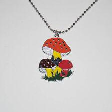 Retro 60s 70s Psychedelic Magic Mushrooms Shrooms Orange Metal Pendant Necklace