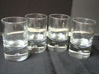 """4 Air Bubble Grappa Glasses 3"""" High Blown Glass Set of Four Cordial"""