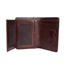 Mens Brown Slim Bifold Wallet Genuine Leather Snap Button Closure Photo Holder