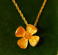 "Vintage Gold tone Dogwood Flower pendant 18"" Chain Necklace 3i 66"