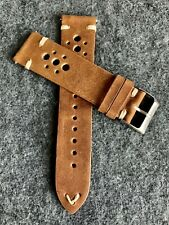 20mm BROWN Racing Vintage Leather watch band strap WHITE Quick Release