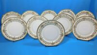 10 Aynsley China HENLEY Green Backstamp Gold Trim Luncheon Plates 8.25""