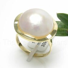 14k Solid Yellow Gold 15mm Genuine White Mabe Pearl Solitaire Ring TPJ