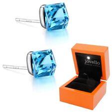 Kristall Würfel Cube hellblau Ohrstecker aus 925 Silber + Luxus LED Schmuckbox